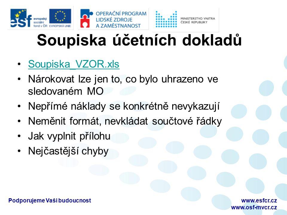 Soupiska účetních dokladů Soupiska_VZOR.xls Nárokovat lze jen to, co bylo uhrazeno ve sledovaném MO Nepřímé náklady se konkrétně nevykazují Neměnit formát, nevkládat součtové řádky Jak vyplnit přílohu Nejčastější chyby Podporujeme Vaši budoucnostwww.esfcr.cz www.osf-mvcr.cz