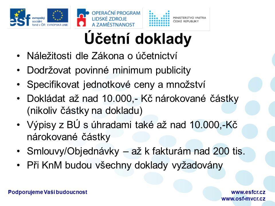 Účetní doklady Náležitosti dle Zákona o účetnictví Dodržovat povinné minimum publicity Specifikovat jednotkové ceny a množství Dokládat až nad 10.000,- Kč nárokované částky (nikoliv částky na dokladu) Výpisy z BÚ s úhradami také až nad 10.000,-Kč nárokované částky Smlouvy/Objednávky – až k fakturám nad 200 tis.