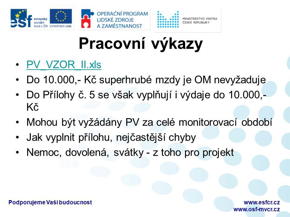 Pracovní výkazy PV_VZOR_II.xls Do 10.000,- Kč superhrubé mzdy je OM nevyžaduje Do Přílohy č. 5 se však vyplňují i výdaje do 10.000,- Kč Mohou být vyžá