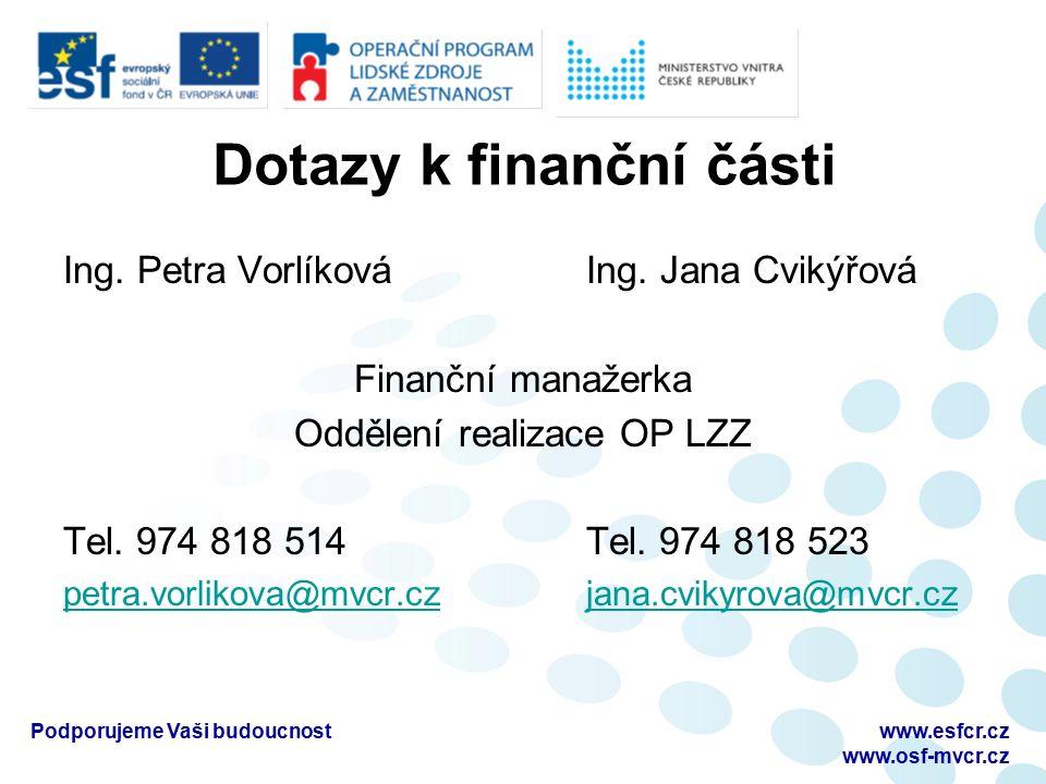 Dotazy k finanční části Ing. Petra Vorlíková Ing. Jana Cvikýřová Finanční manažerka Oddělení realizace OP LZZ Tel. 974 818 514 Tel. 974 818 523 petra.