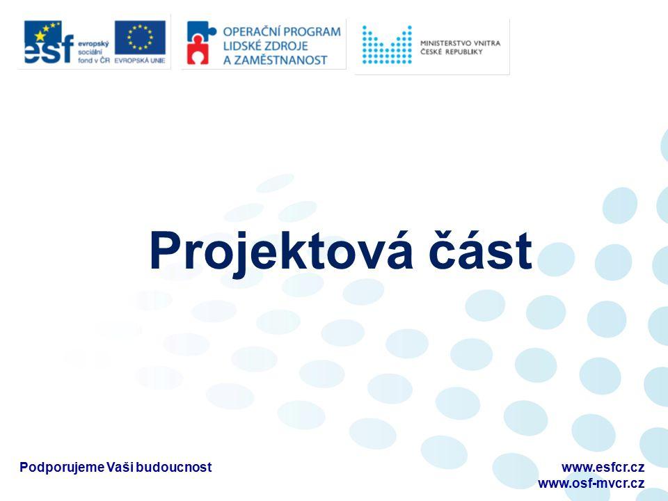 Projektová část Podporujeme Vaši budoucnostwww.esfcr.cz www.osf-mvcr.cz