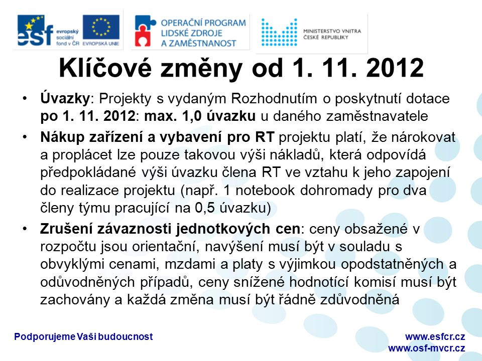 Klíčové změny od 1. 11. 2012 Úvazky: Projekty s vydaným Rozhodnutím o poskytnutí dotace po 1. 11. 2012: max. 1,0 úvazku u daného zaměstnavatele Nákup