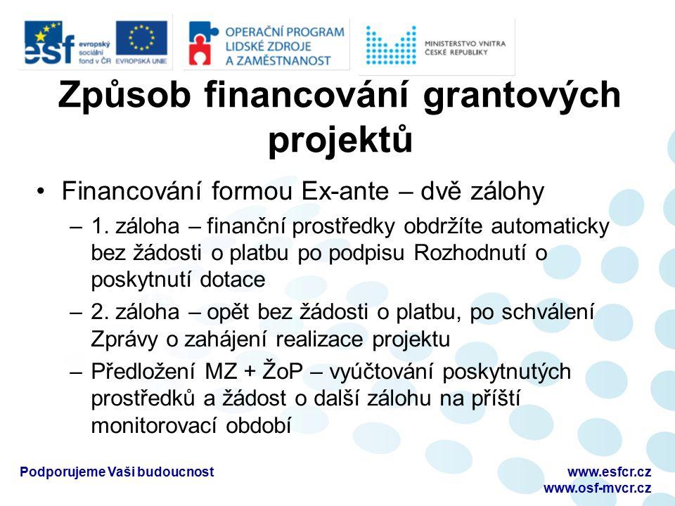Způsob financování grantových projektů Financování formou Ex-ante – dvě zálohy –1. záloha – finanční prostředky obdržíte automaticky bez žádosti o pla