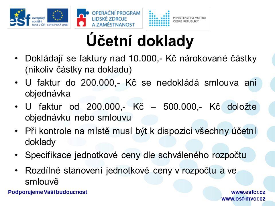 Účetní doklady Dokládají se faktury nad 10.000,- Kč nárokované částky (nikoliv částky na dokladu) U faktur do 200.000,- Kč se nedokládá smlouva ani ob