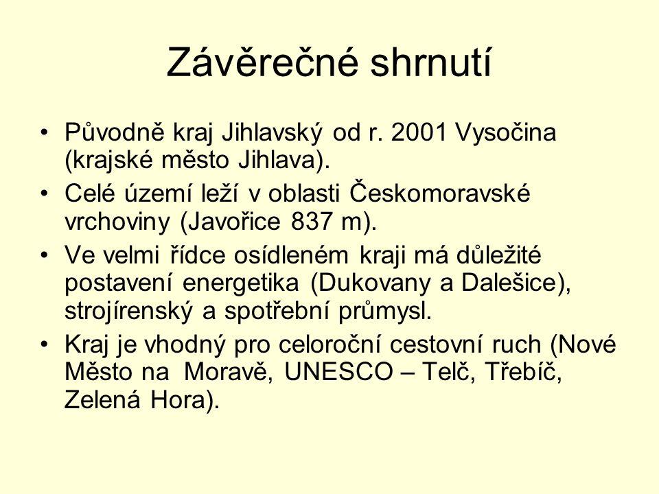 Závěrečné shrnutí Původně kraj Jihlavský od r. 2001 Vysočina (krajské město Jihlava). Celé území leží v oblasti Českomoravské vrchoviny (Javořice 837