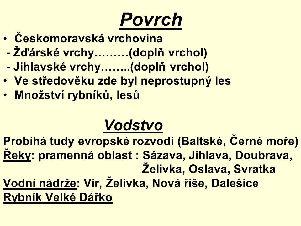 Povrch Českomoravská vrchovina - Žďárské vrchy………(doplň vrchol) - Jihlavské vrchy……..(doplň vrchol) Ve středověku zde byl neprostupný les Množství ryb
