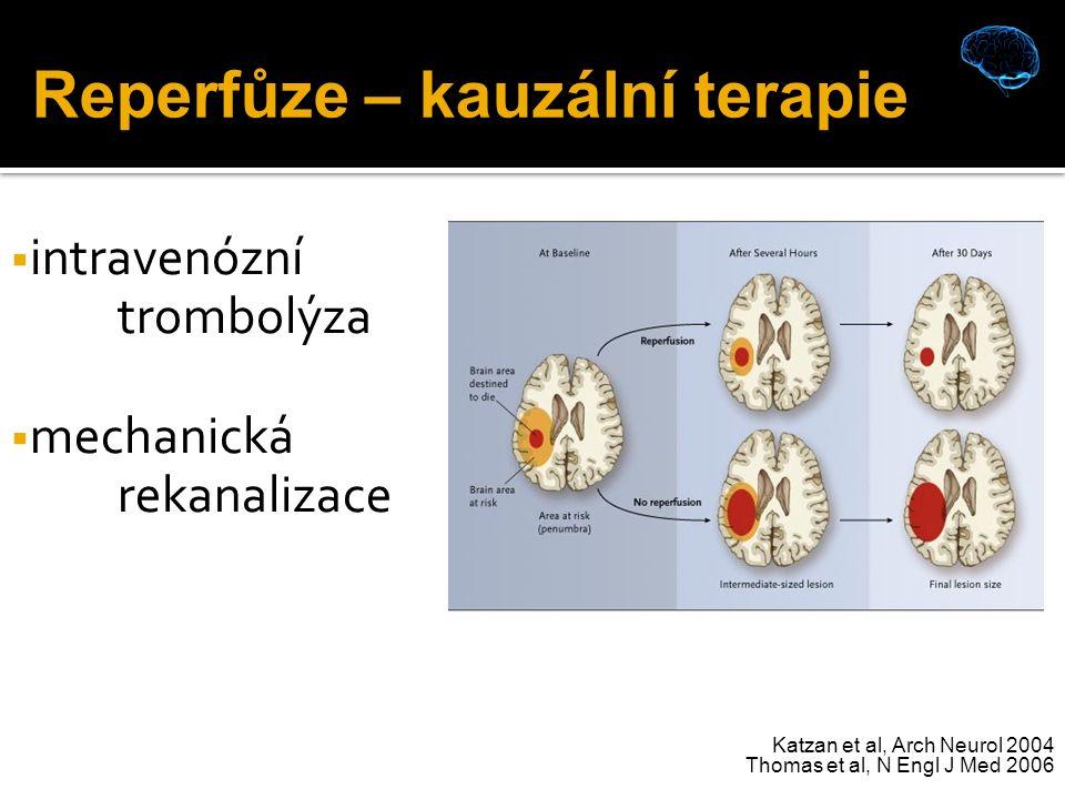 Katzan et al, Arch Neurol 2004 Thomas et al, N Engl J Med 2006  intravenózní trombolýza  mechanická rekanalizace Reperfůze – kauzální terapie