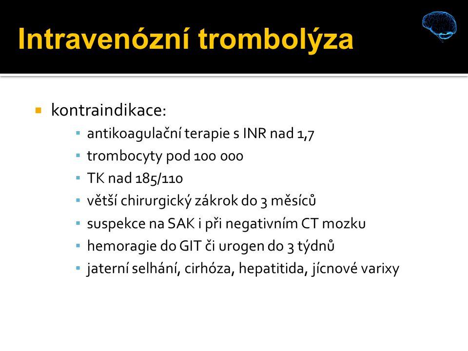  kontraindikace: ▪ antikoagulační terapie s INR nad 1,7 ▪ trombocyty pod 100 000 ▪ TK nad 185/110 ▪ větší chirurgický zákrok do 3 měsíců ▪ suspekce na SAK i při negativním CT mozku ▪ hemoragie do GIT či urogen do 3 týdnů ▪ jaterní selhání, cirhóza, hepatitida, jícnové varixy Intravenózní trombolýza