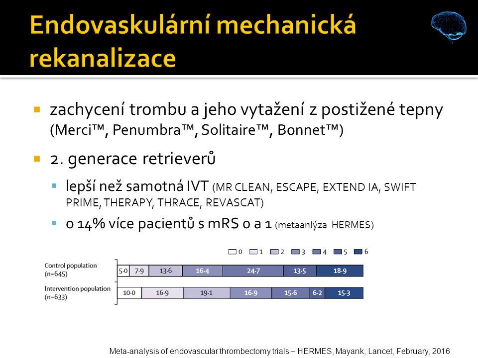  zachycení trombu a jeho vytažení z postižené tepny (Merci™, Penumbra™, Solitaire™, Bonnet™)  2.