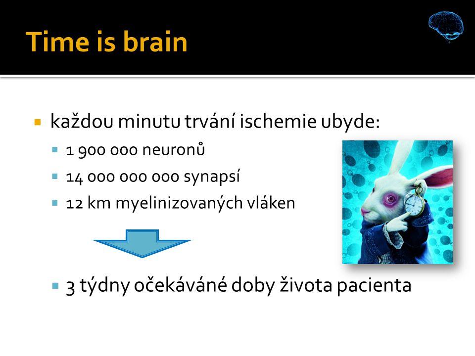 Time is brain  každou minutu trvání ischemie ubyde:  1 900 000 neuronů  14 000 000 000 synapsí  12 km myelinizovaných vláken  3 týdny očekáváné doby života pacienta