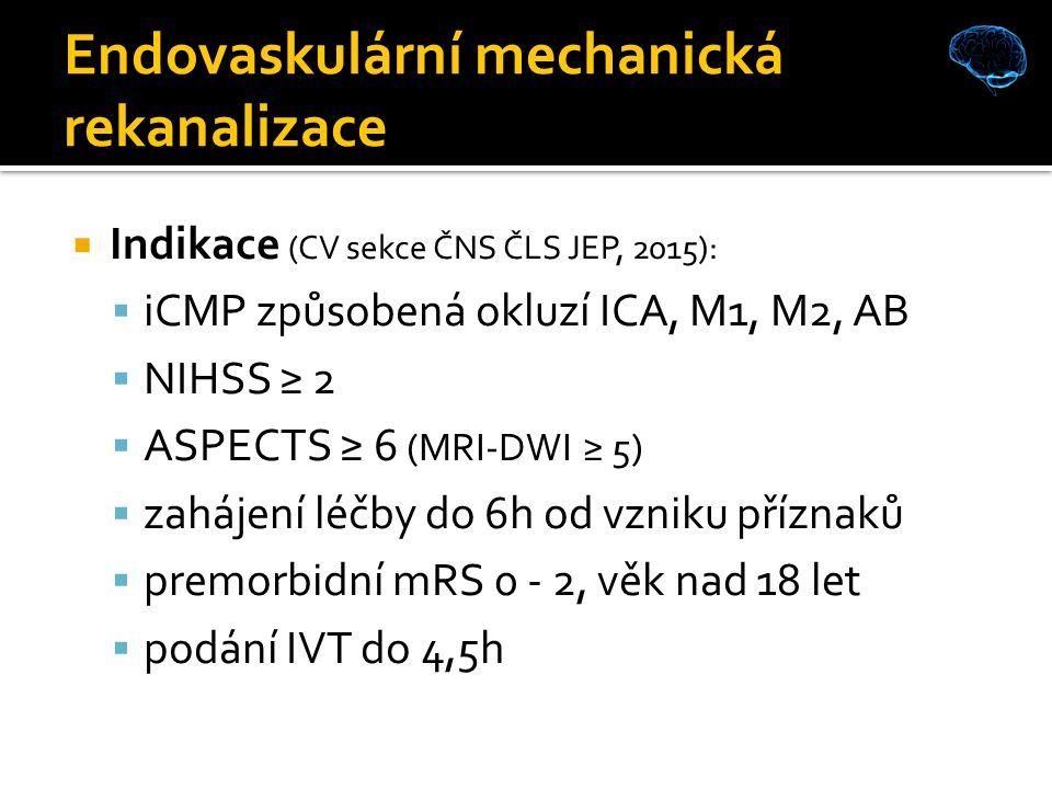Endovaskulární mechanická rekanalizace  Indikace (CV sekce ČNS ČLS JEP, 2015):  iCMP způsobená okluzí ICA, M1, M2, AB  NIHSS ≥ 2  ASPECTS ≥ 6 (MRI-DWI ≥ 5)  zahájení léčby do 6h od vzniku příznaků  premorbidní mRS 0 - 2, věk nad 18 let  podání IVT do 4,5h