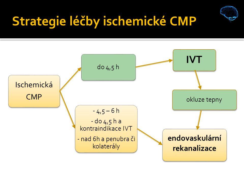 Ischemická CMP do 4,5 h IVT - 4,5 – 6 h - do 4,5 h a kontraindikace IVT - nad 6h a penubra či kolaterály endovaskulární rekanalizace okluze tepny Strategie léčby ischemické CMP