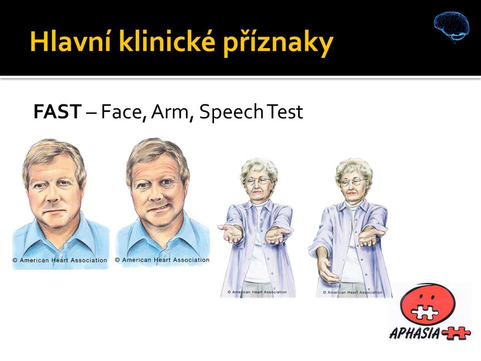 Hlavní klinické příznaky FAST – Face, Arm, Speech Test