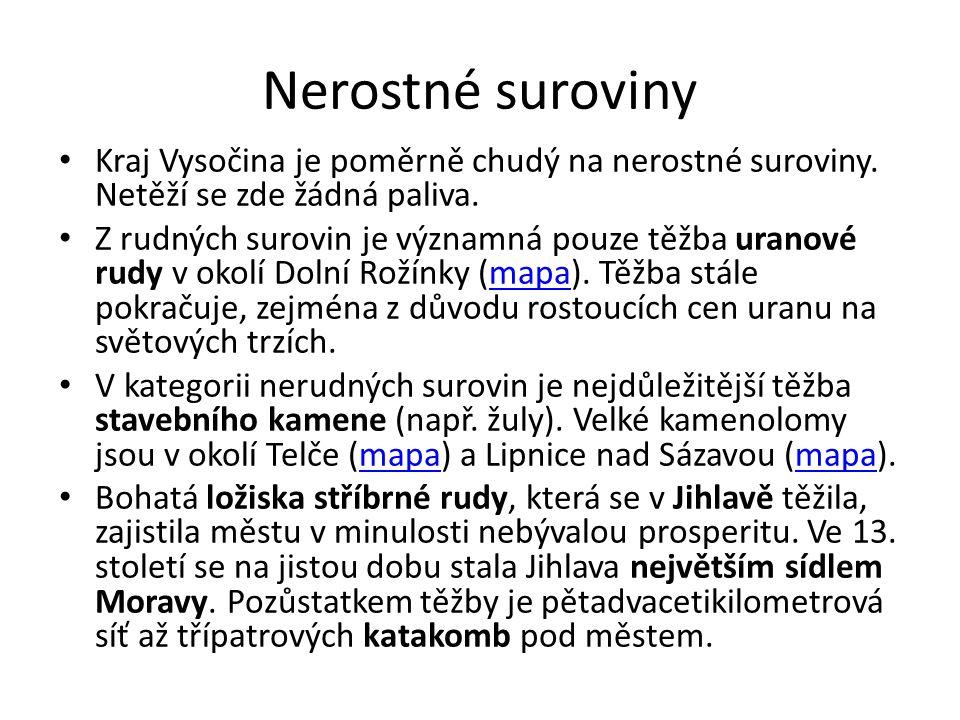 Nerostné suroviny Kraj Vysočina je poměrně chudý na nerostné suroviny.