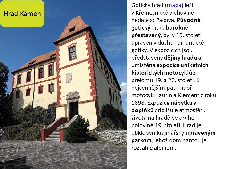 Hrad Kámen Gotický hrad (mapa) leží v Křemešnické vrchovině nedaleko Pacova.