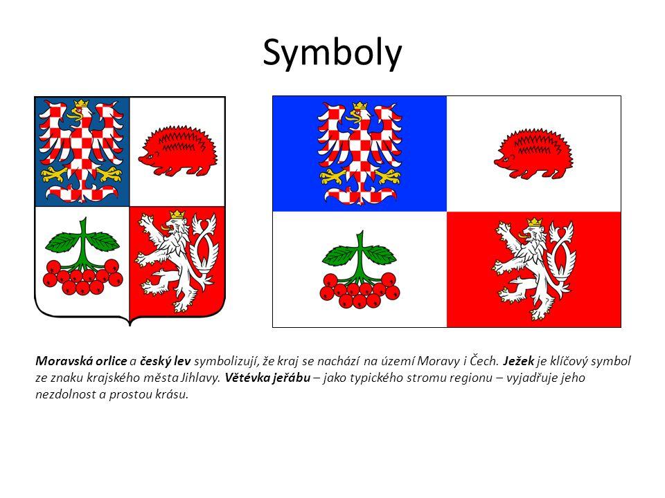 Symboly Moravská orlice a český lev symbolizují, že kraj se nachází na území Moravy i Čech.