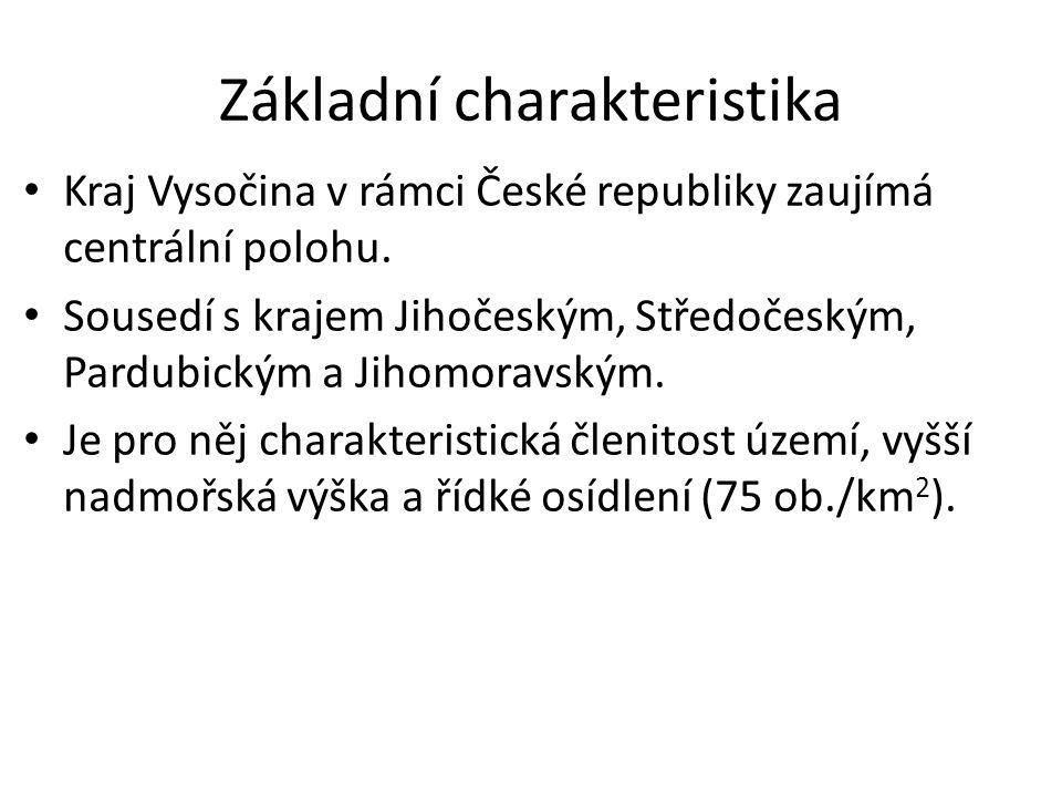 Základní charakteristika Kraj Vysočina v rámci České republiky zaujímá centrální polohu.