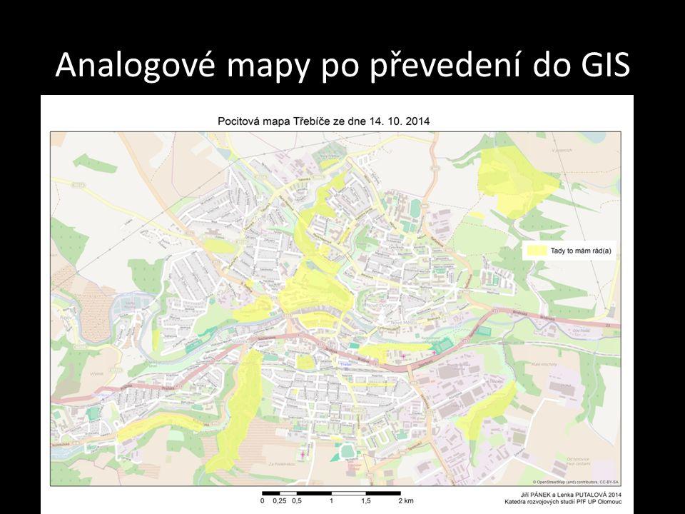Analogové mapy po převedení do GIS