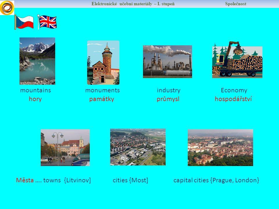 Elektronické učební materiály – I. stupeň Společnost mountains hory Města …. towns {Litvinov] cities {Most] capital cities {Prague, London} industry E