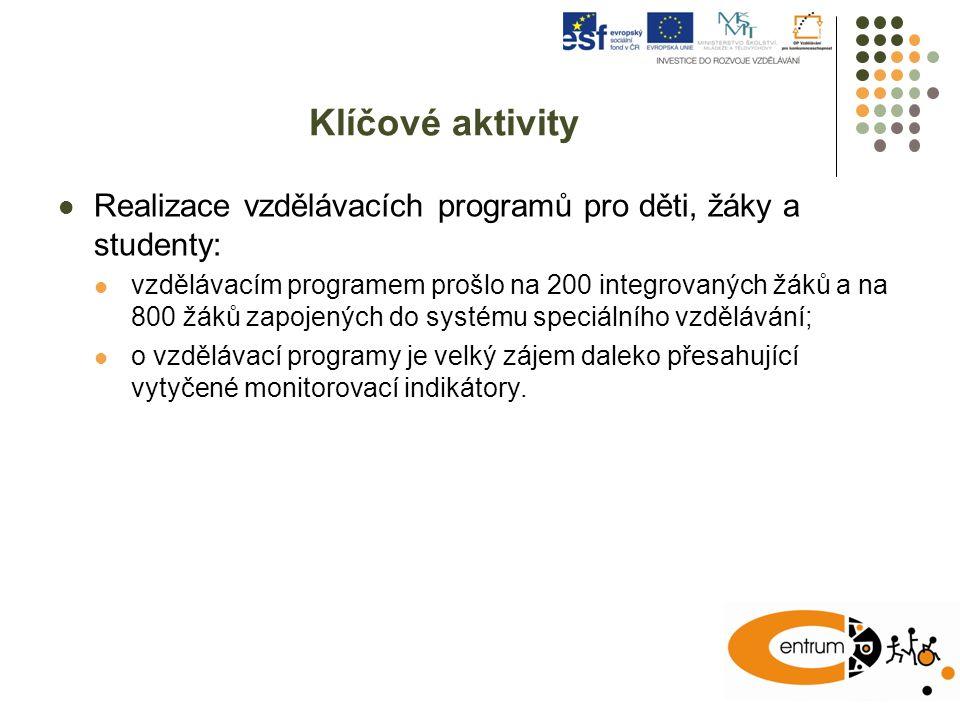 Klíčové aktivity Realizace vzdělávacích programů pro děti, žáky a studenty: vzdělávacím programem prošlo na 200 integrovaných žáků a na 800 žáků zapoj