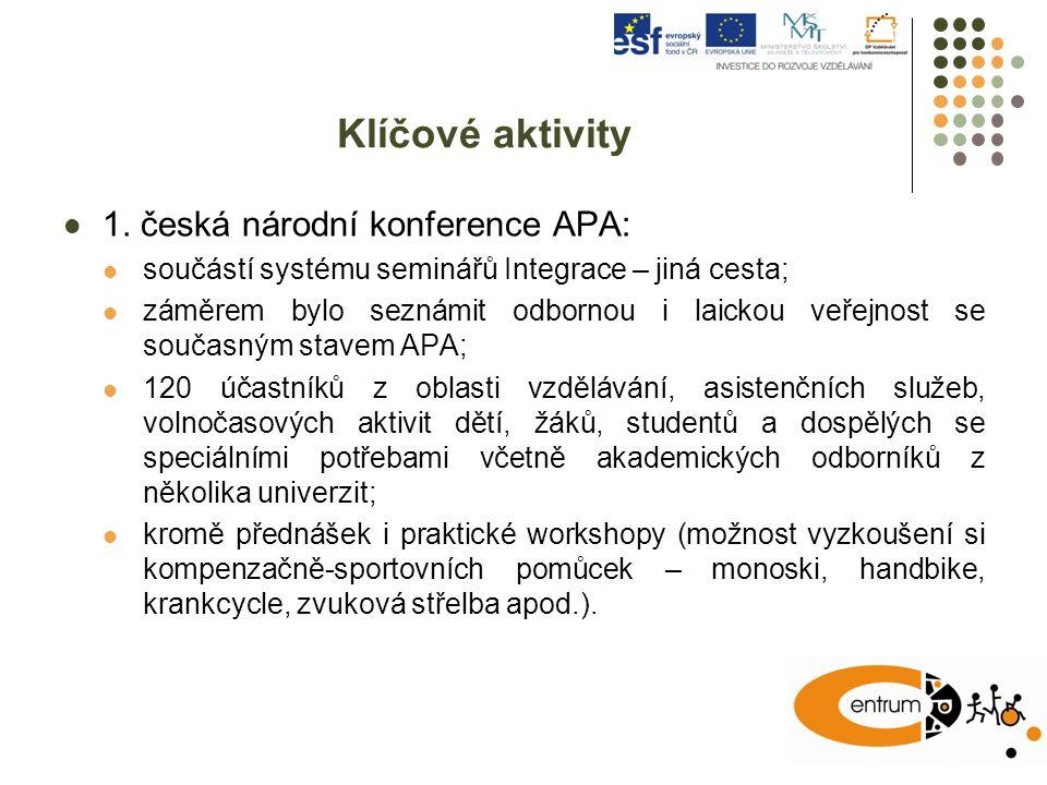 Klíčové aktivity 1. česká národní konference APA: součástí systému seminářů Integrace – jiná cesta; záměrem bylo seznámit odbornou i laickou veřejnost