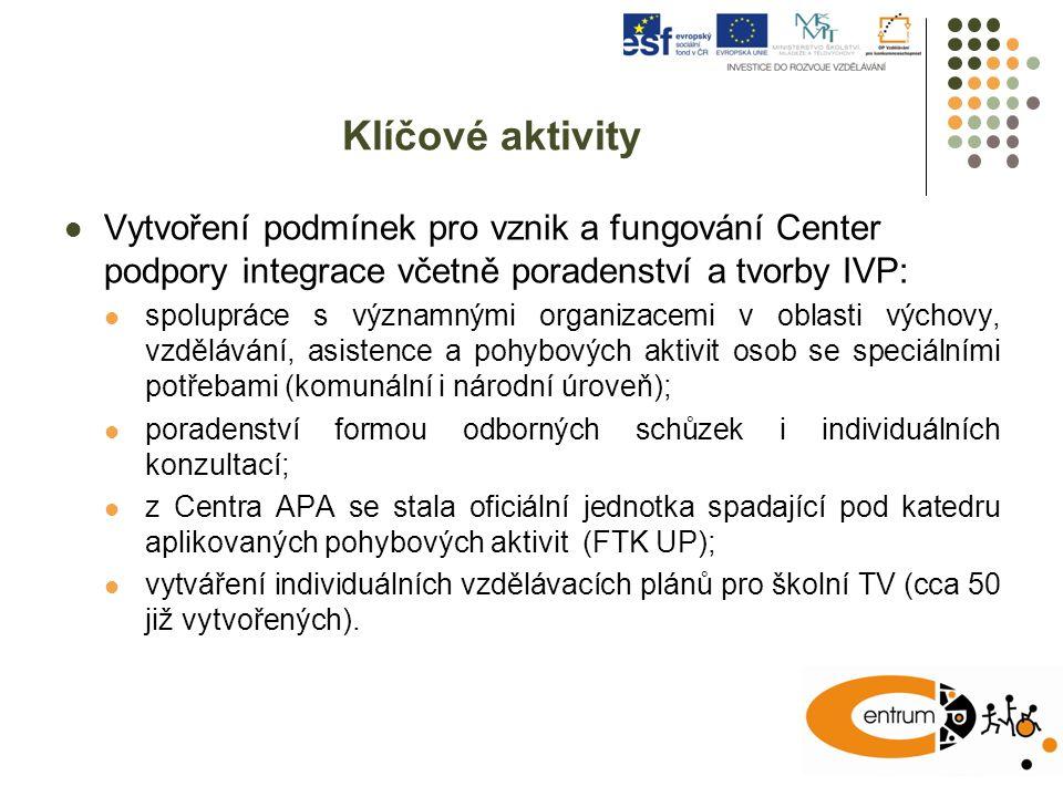 Klíčové aktivity Vytvoření podmínek pro vznik a fungování Center podpory integrace včetně poradenství a tvorby IVP: spolupráce s významnými organizace