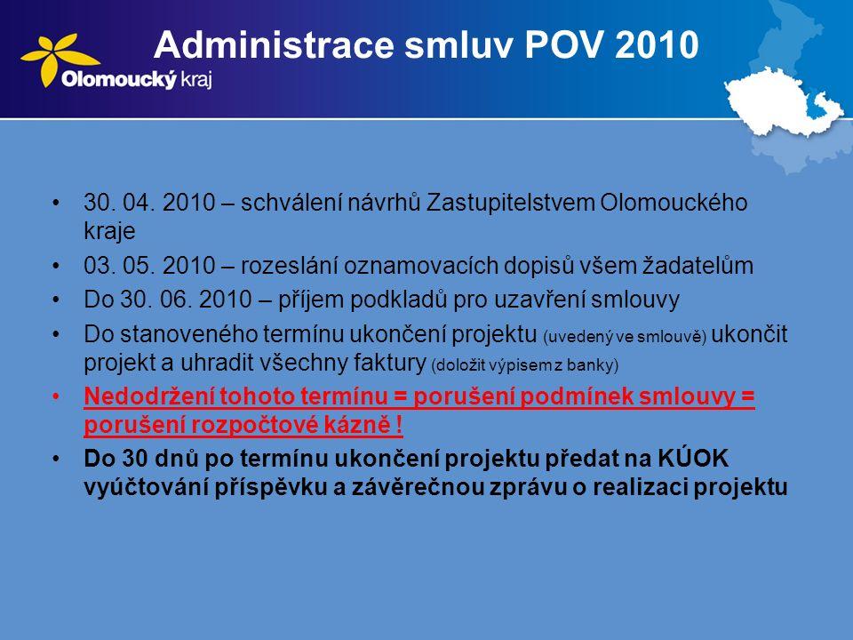 Administrace smluv POV 2010 30. 04. 2010 – schválení návrhů Zastupitelstvem Olomouckého kraje 03.