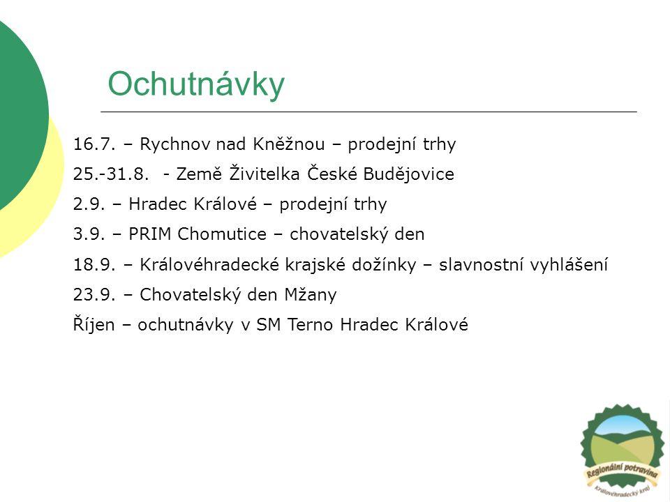 Ochutnávky 16.7. – Rychnov nad Kněžnou – prodejní trhy 25.-31.8. - Země Živitelka České Budějovice 2.9. – Hradec Králové – prodejní trhy 3.9. – PRIM C
