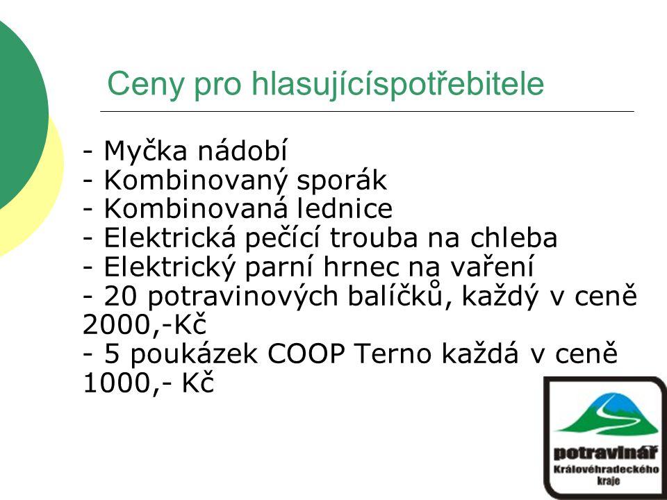 Ceny pro hlasujícíspotřebitele - Myčka nádobí - Kombinovaný sporák - Kombinovaná lednice - Elektrická pečící trouba na chleba - Elektrický parní hrnec