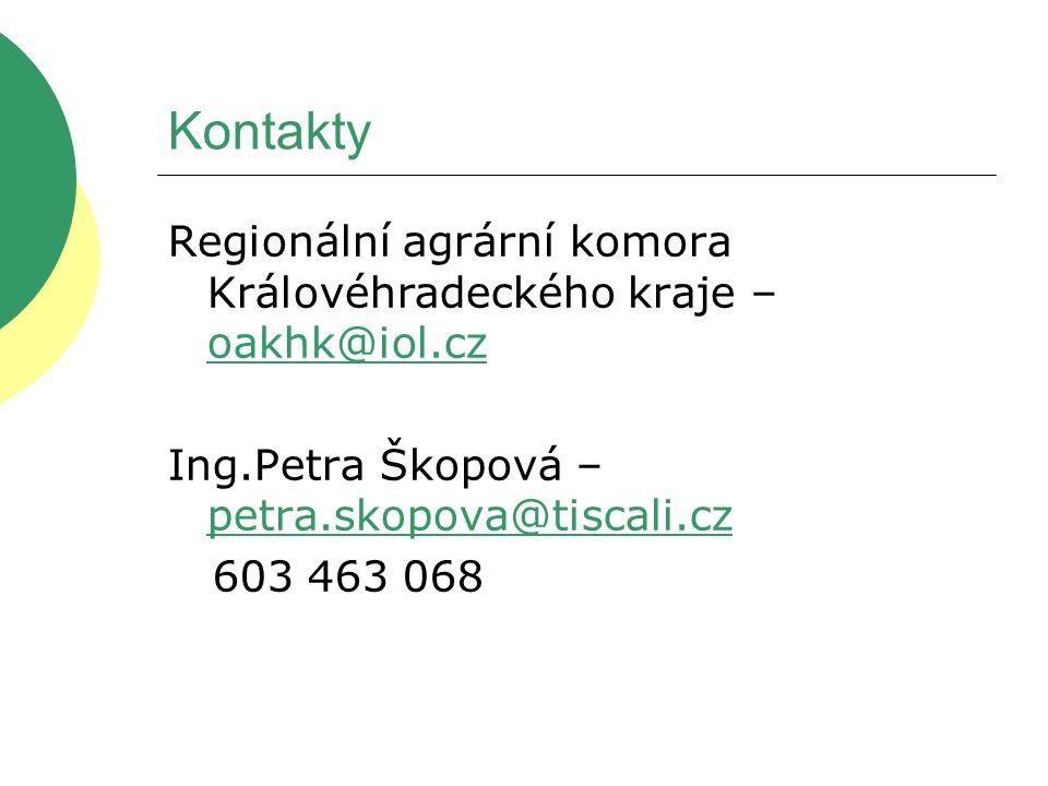 Kontakty Regionální agrární komora Královéhradeckého kraje – oakhk@iol.cz oakhk@iol.cz Ing.Petra Škopová – petra.skopova@tiscali.cz petra.skopova@tisc