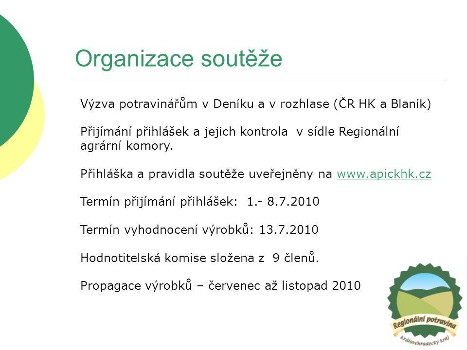 Organizace soutěže Výzva potravinářům v Deníku a v rozhlase (ČR HK a Blaník) Přijímání přihlášek a jejich kontrola v sídle Regionální agrární komory.
