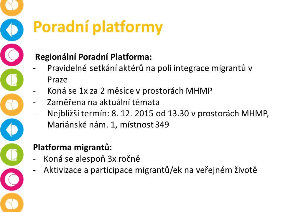Poradní platformy Regionální Poradní Platforma: -Pravidelné setkání aktérů na poli integrace migrantů v Praze -Koná se 1x za 2 měsíce v prostorách MHMP -Zaměřena na aktuální témata -Nejbližší termín: 8.