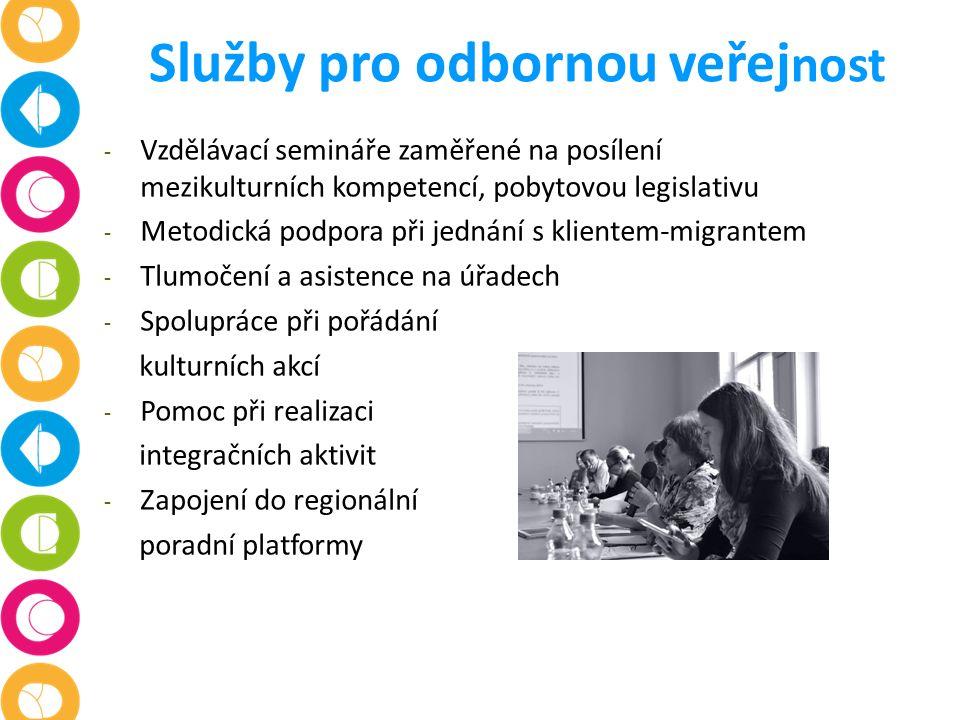 Služby pro odbornou veřej nost - Vzdělávací semináře zaměřené na posílení mezikulturních kompetencí, pobytovou legislativu - Metodická podpora při jednání s klientem-migrantem - Tlumočení a asistence na úřadech - Spolupráce při pořádání kulturních akcí - Pomoc při realizaci integračních aktivit - Zapojení do regionální poradní platformy