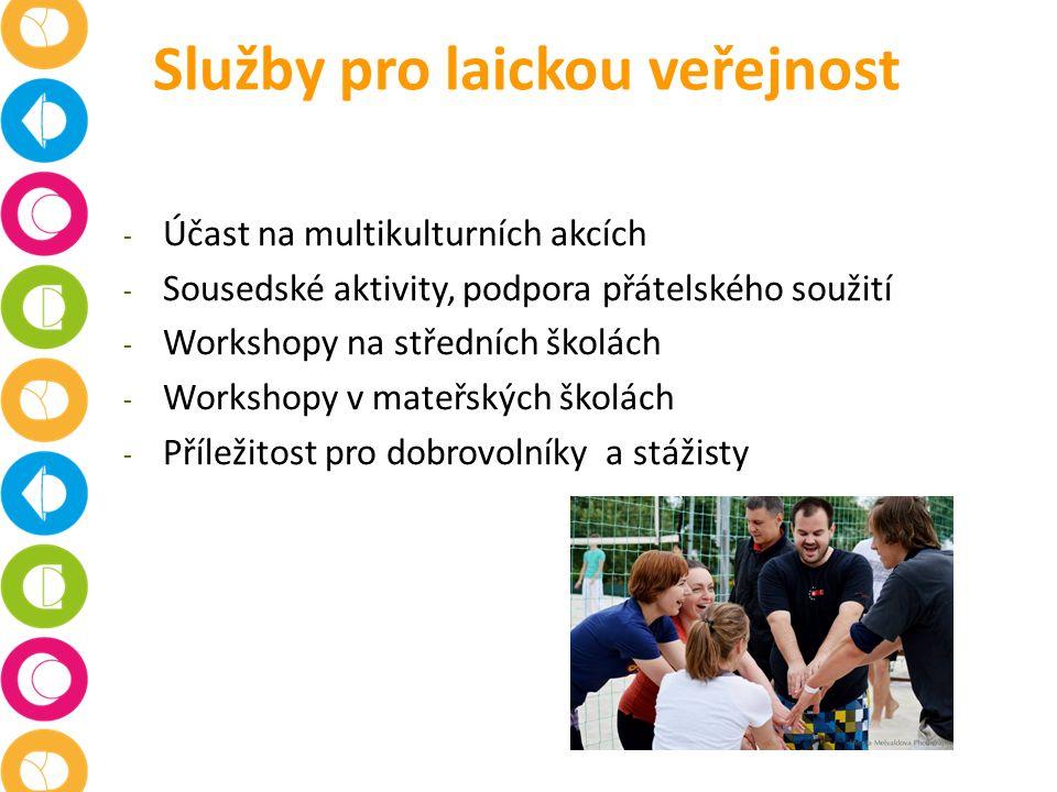 Služby pro laickou veřejnost - Účast na multikulturních akcích - Sousedské aktivity, podpora přátelského soužití - Workshopy na středních školách - Workshopy v mateřských školách - Příležitost pro dobrovolníky a stážisty