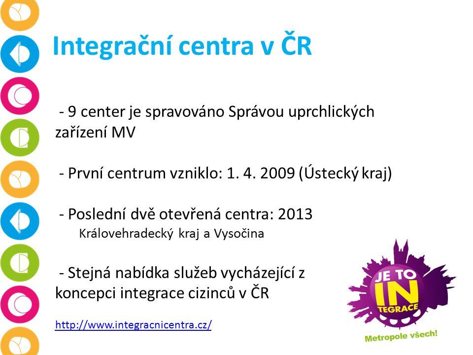 Integrační centra v ČR - 9 center je spravováno Správou uprchlických zařízení MV - První centrum vzniklo: 1.