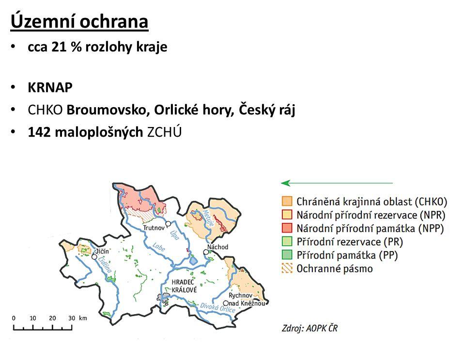 Územní ochrana cca 21 % rozlohy kraje KRNAP CHKO Broumovsko, Orlické hory, Český ráj 142 maloplošných ZCHÚ