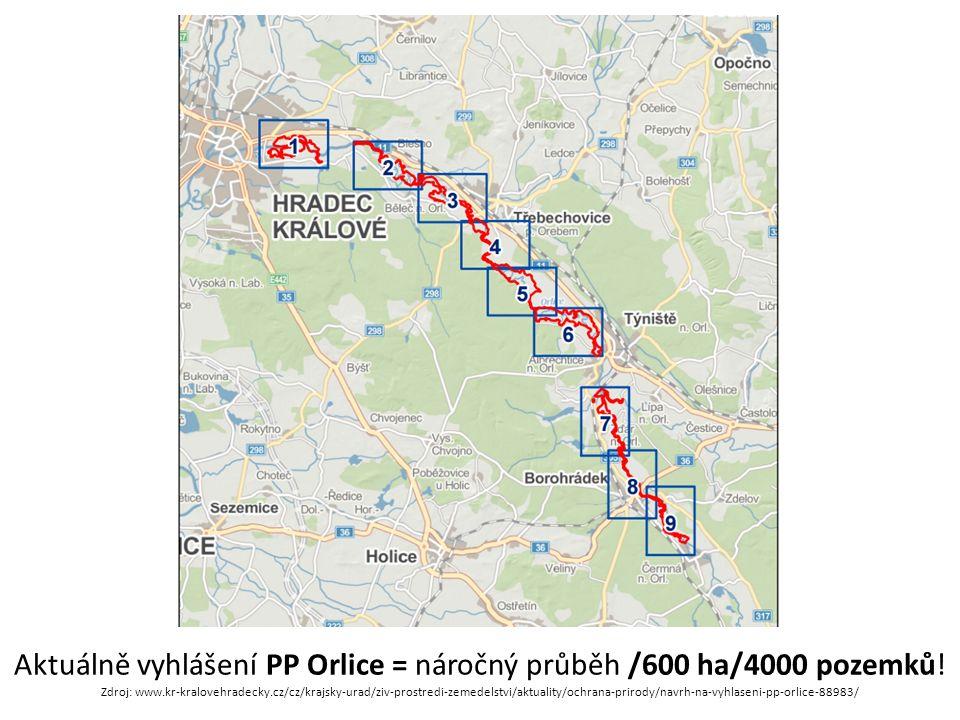 Aktuálně vyhlášení PP Orlice = náročný průběh /600 ha/4000 pozemků.