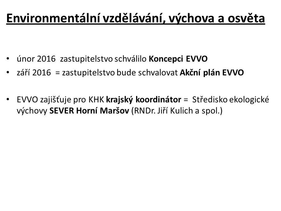 Environmentální vzdělávání, výchova a osvěta únor 2016 zastupitelstvo schválilo Koncepci EVVO září 2016 = zastupitelstvo bude schvalovat Akční plán EVVO EVVO zajišťuje pro KHK krajský koordinátor = Středisko ekologické výchovy SEVER Horní Maršov (RNDr.