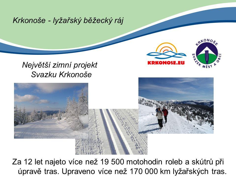Krkonoše - lyžařský běžecký ráj Největší zimní projekt Svazku Krkonoše Za 12 let najeto více než 19 500 motohodin roleb a skútrů při úpravě tras.