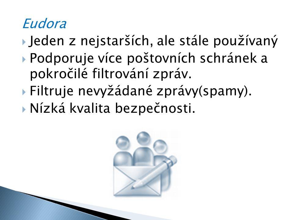 Eudora  Jeden z nejstarších, ale stále používaný  Podporuje více poštovních schránek a pokročilé filtrování zpráv.