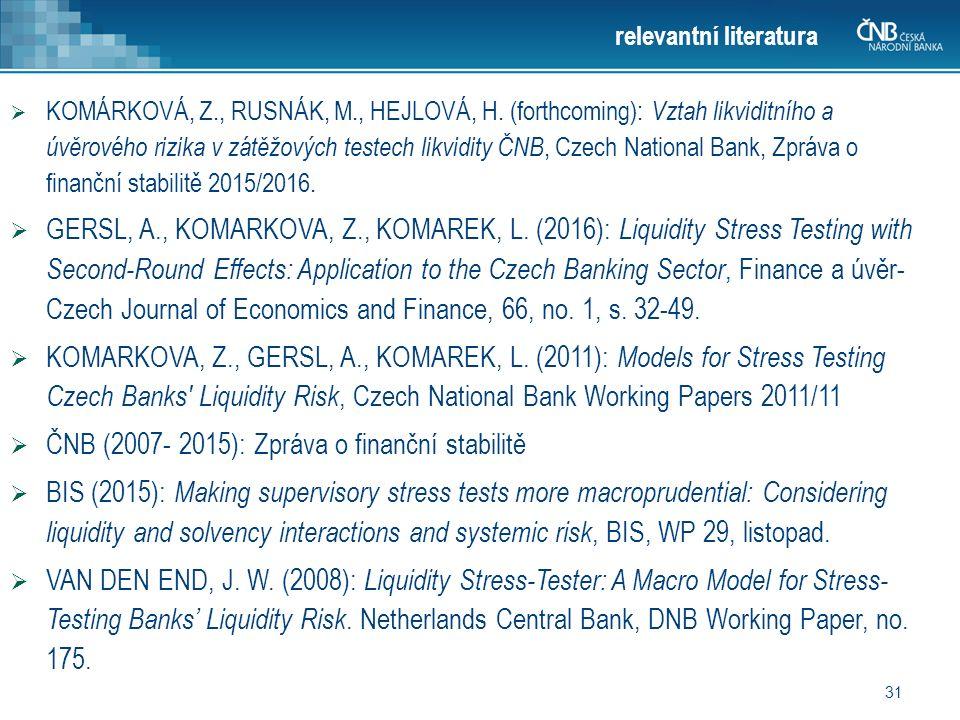 31 relevantní literatura  KOMÁRKOVÁ, Z., RUSNÁK, M., HEJLOVÁ, H.