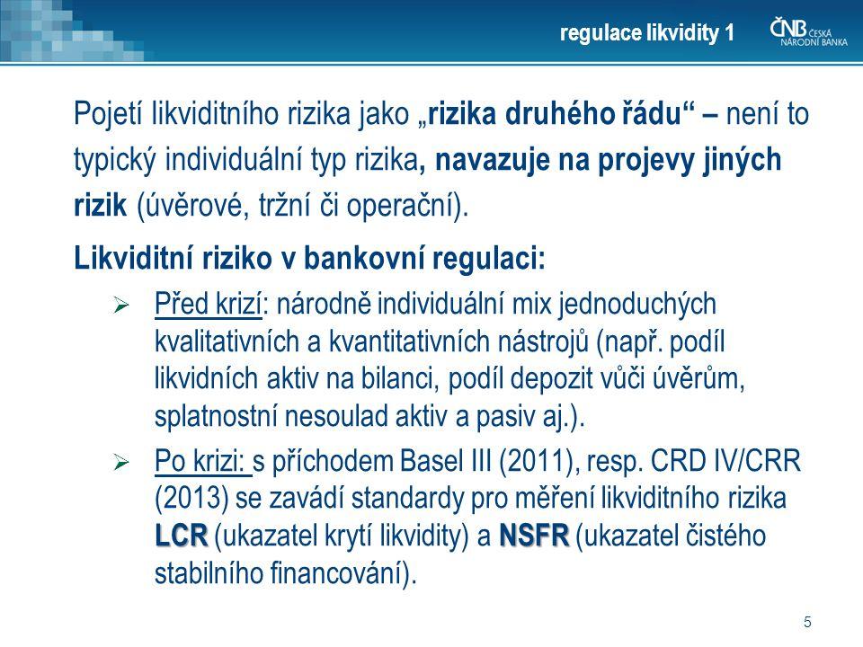 """5 regulace likvidity 1 Pojetí likviditního rizika jako """" rizika druhého řádu – není to typický individuální typ rizika, navazuje na projevy jiných rizik (úvěrové, tržní či operační)."""