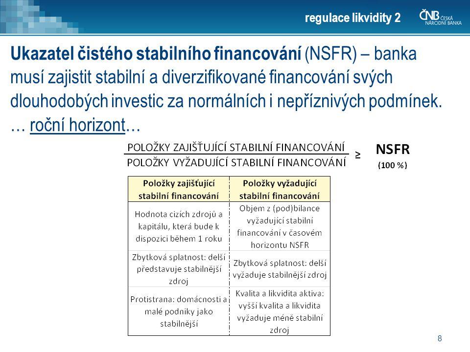 8 regulace likvidity 2 Ukazatel čistého stabilního financování ( NSFR) – banka musí zajistit stabilní a diverzifikované financování svých dlouhodobých investic za normálních i nepříznivých podmínek.