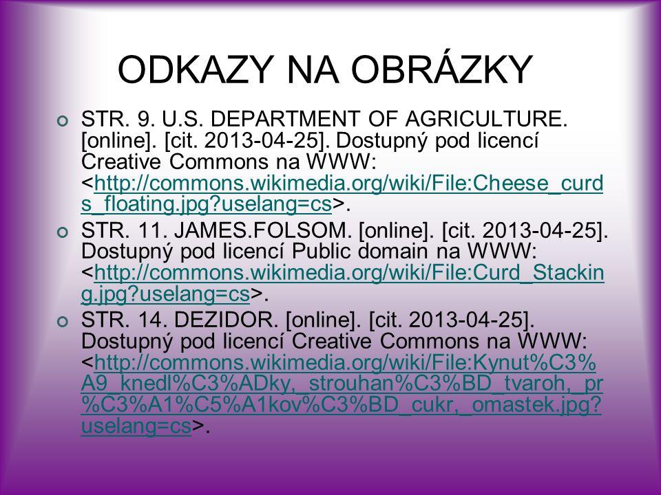 ODKAZY NA OBRÁZKY STR. 9. U.S. DEPARTMENT OF AGRICULTURE.