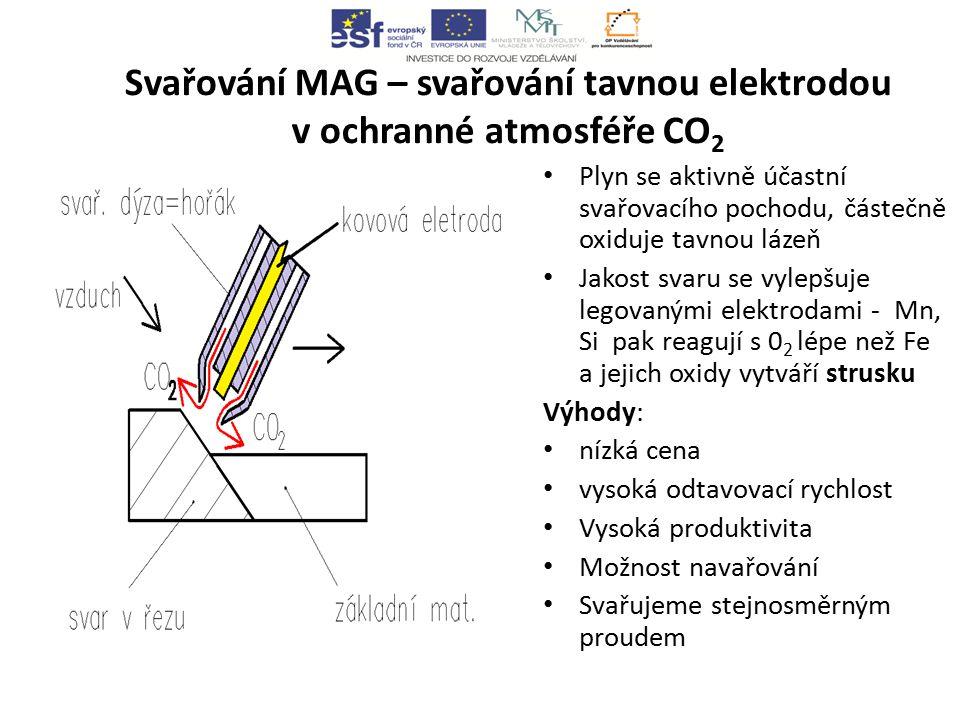 Svařování MAG – svařování tavnou elektrodou v ochranné atmosféře CO 2 Plyn se aktivně účastní svařovacího pochodu, částečně oxiduje tavnou lázeň Jakost svaru se vylepšuje legovanými elektrodami - Mn, Si pak reagují s 0 2 lépe než Fe a jejich oxidy vytváří strusku Výhody: nízká cena vysoká odtavovací rychlost Vysoká produktivita Možnost navařování Svařujeme stejnosměrným proudem