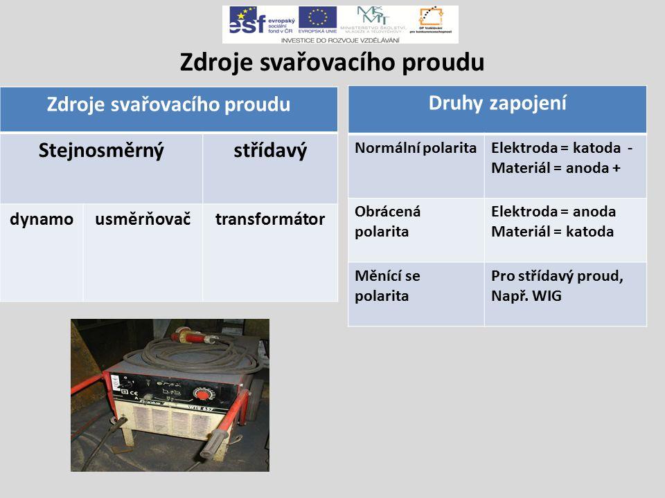 Zdroje svařovacího proudu Stejnosměrnýstřídavý dynamousměrňovačtransformátor Druhy zapojení Normální polaritaElektroda = katoda - Materiál = anoda + Obrácená polarita Elektroda = anoda Materiál = katoda Měnící se polarita Pro střídavý proud, Např.