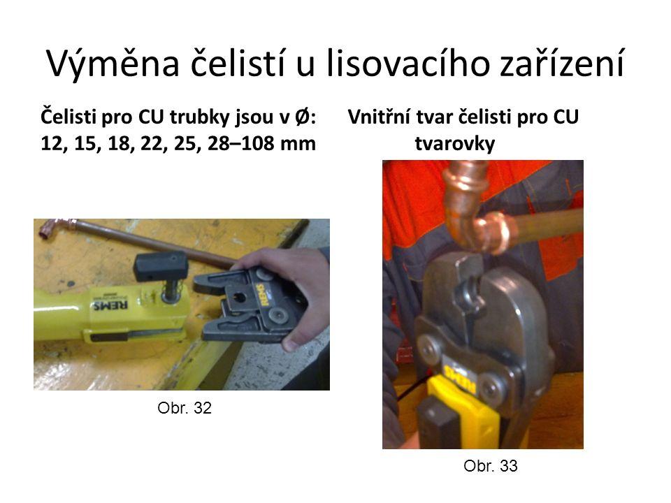 Výměna čelistí u lisovacího zařízení Čelisti pro CU trubky jsou v Ø: 12, 15, 18, 22, 25, 28–108 mm Vnitřní tvar čelisti pro CU tvarovky Obr.