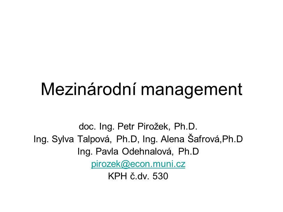 Mezinárodní management doc. Ing. Petr Pirožek, Ph.D.