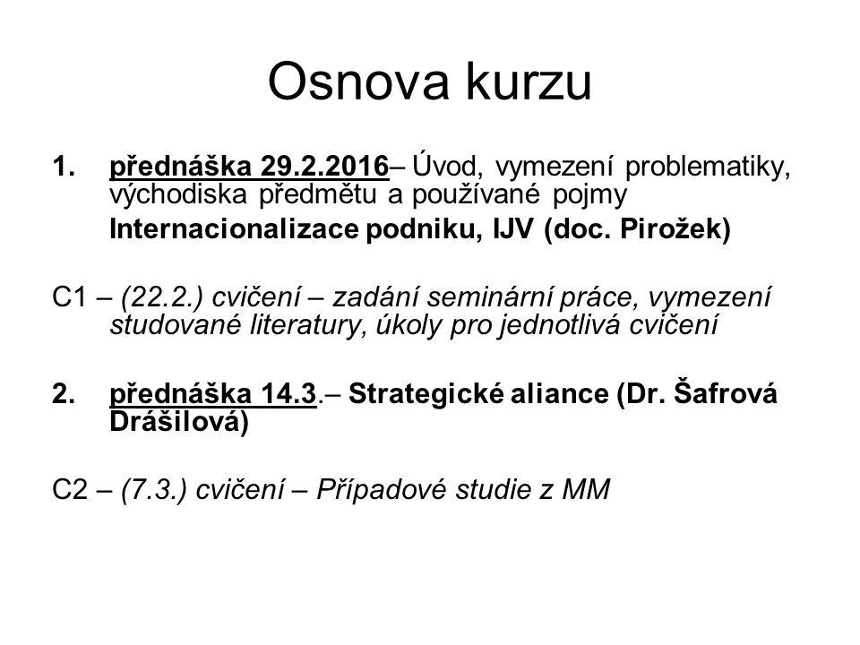 Osnova kurzu 1.přednáška 29.2.2016– Úvod, vymezení problematiky, východiska předmětu a používané pojmy Internacionalizace podniku, IJV (doc.