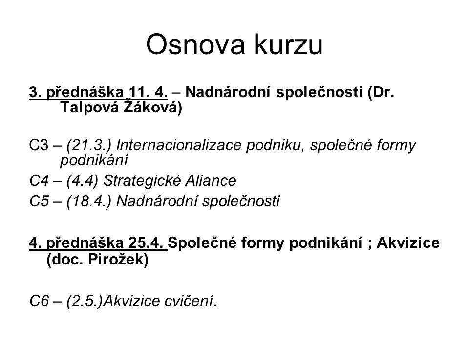 Osnova kurzu 3. přednáška 11. 4. – Nadnárodní společnosti (Dr.